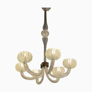 Art Deco Murano Glass 6-Light Chandelier, 1940s