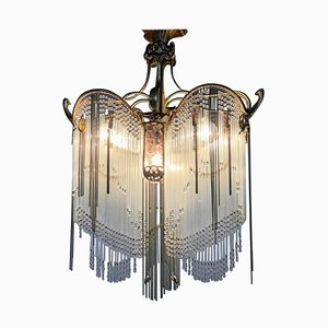 Art Nouveau Chandelier in the Style of Hector Guimard, 1920s