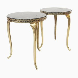 Side Tables with Black Marble Tops, 1970s, Set of 2