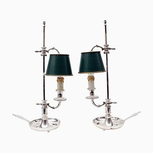 Vintage Silver-Plated Lamps, Set of 2