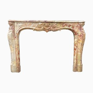 Late 19th Century Louis XV Style Fireplace in Sarrancolin Marble