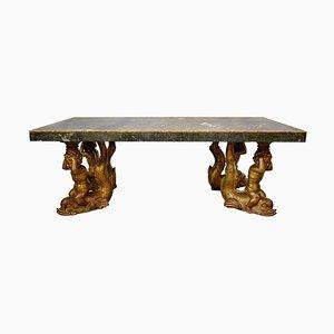 Großer Italienischer Marmor und Geschnitzter Stuck Esstisch mit Vergoldetem Rahmen
