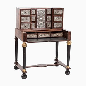 18th Century Tin Marquetry Writing Desk Cabinet