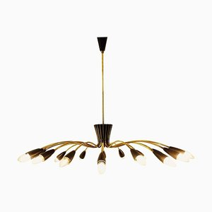 Italian Chandelier in Brass and Black Lacquer, 1960s