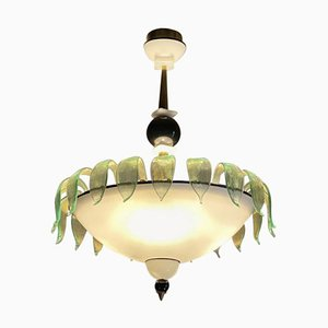 Art Deco Murano Glass Chandelier, 1940s