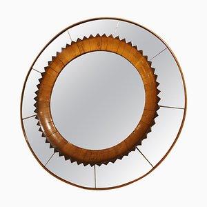 Circular Walnut Wall Mirror by Fratelli Marelli, Italy, 1950s