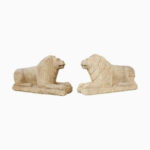 Lions Style Mésopotamien Vintage en Pierre, Set de 2