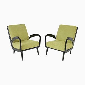 Black Lacquered Armchairs, 1960s, Set of 2