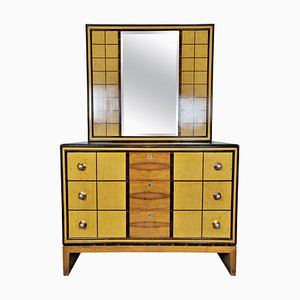 Italian Art Deco Chest of Drawers with Standing Mirror