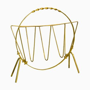 Italian Brass Magazine Rack, 1960s