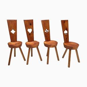 Mid-Century Holzstühle in Spade, Club, Heart & Diamond, 4er Set