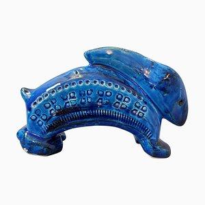 Coniglio Rimini in ceramica blu di Aldo Londi per Bitossi