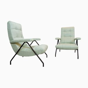 Italian Armchairs with Black Metal Tubular Frame, France, 1950s, Set of 2