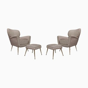 Mid-Century Italian Armchairs with Ottomans, Set of 4
