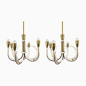 Mid-Century Italian Brass Chandeliers, Set of 2