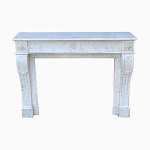 Kamin aus weißem Carrara Marmor im Louis XVI Stil
