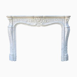 Louis XV Style White Carrara Marble Fireplace