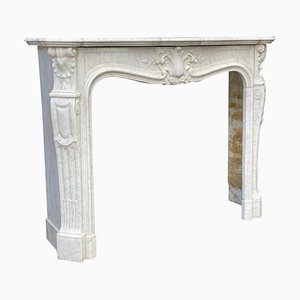 Louis XV Style White Carrara Marble Fireplace