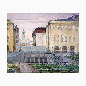 Brussels Street Scene Gemälde von Victor Petré, Belgium, 1960er