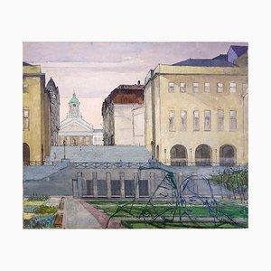 Dipinto raffigurante una strada di Bruxelles su tela di Victor Petré, Belgio, anni '60
