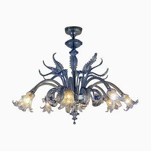 Venetian Blue Murano Glass Chandelier from Venini, 1940s
