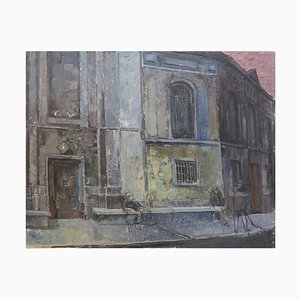 Brussels Street Scene Painting on Canvas by Victor Petré, Belgium, 1960s