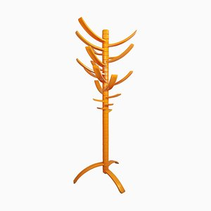 Sculptural Orange Lacquered Wood Coat Rack by Bruce Tippett Renna, 1970s