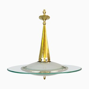 Mid-Century Pendant Lamp in Glass and Brass