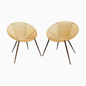 Scoubidou Outdoor Round Armchairs, Italy, 1950s, Set of 2