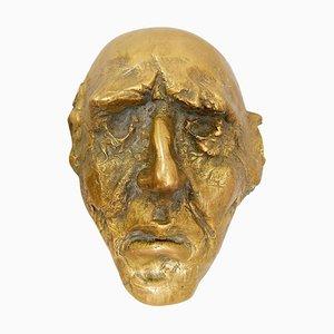 Vintage Maske Skulptur aus Bronze