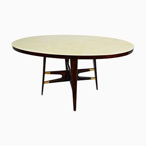 Italienischer Tisch aus marmoriertem Glas, 1950er