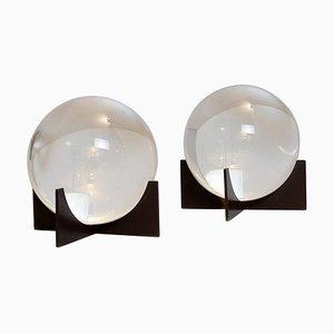 Vintage Glass Spheres on Base, Set of 2