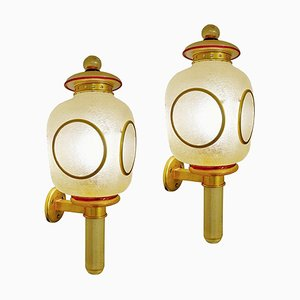 Carriage Lamp Wall Sconces in Brass and Gold Glitter Murano Glass by Seguso, 1940s, Set of 2