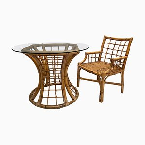 Vintage Rattan Table with Glass Top