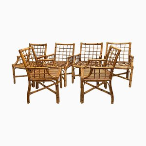 Vintage Rattan Chairs, Set of 6