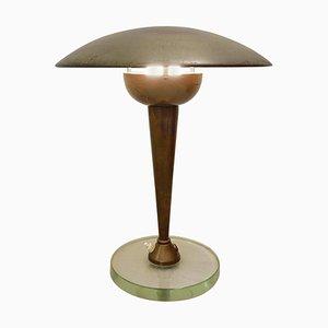 Schreibtischlampe aus Messing & Glas von Stilnovo, 1950er
