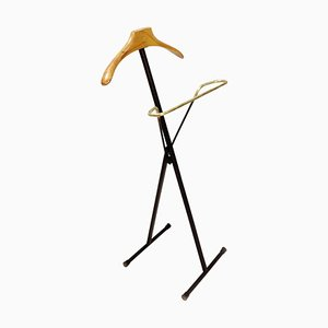Italian Black Metal, Wood & Brass Folding Valet Stand, 1950s