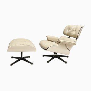 Weißer Sessel und Ottomane im Stil von Charles & Ray Eames, 1960er, 2er Set