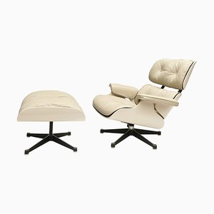 White Lounge Chair and Ottoman in the Style of Charles & Ray Eames, 1960s, Set of 2