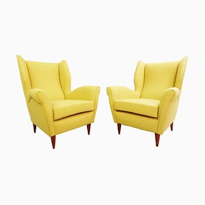 Curry Yellow Upholstery High Back Armchairs by Gio Ponti, 1950s, Set of 2