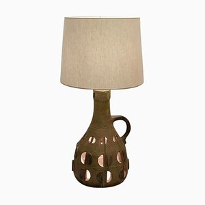 Mid-Century Glazed and Open-Work Ceramic Table Lamp