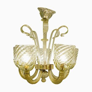 Murano Glass 6-Light Chandelier, 1930s