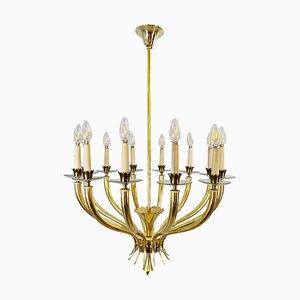 Lampadario Mid-Century a 12 braccia in ottone e vetro di Gio Ponti