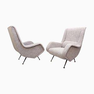 Mid-Century Italian High Back Armchairs, Set of 2
