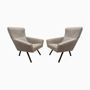 Mid-Century Italian Comfortable Armchairs with High Backs, Set of 2
