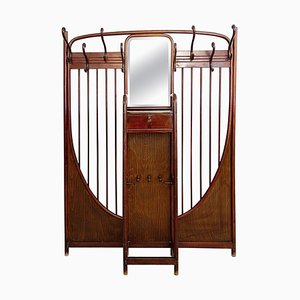 Art Nouveau Mahogany Stained Model 6 Wall Mounted Coat Rack from Thonet, Vienna, 1900s