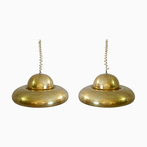 Italian Brass Fior Di Loto Pendant Lamps by Afra & Tobia Scarpa for Flos, 1970s, Set of 2