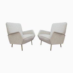 Mid-Century Modell 803 Sessel mit Messingfüßen von Gio Ponti, 2er Set