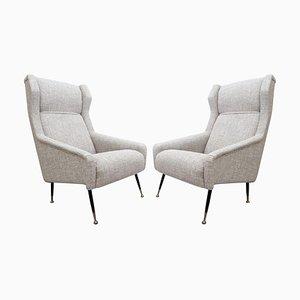 Italienische Mid-Century Sessel mit Hoher Rückenlehne und Ohren, 2er Set