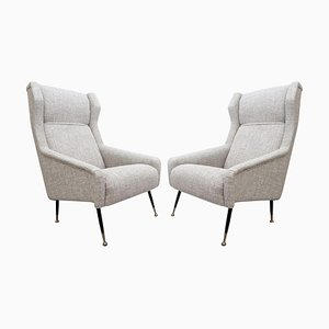 Mid-Century Italian Armchairs with High Back with Ears, Set of 2